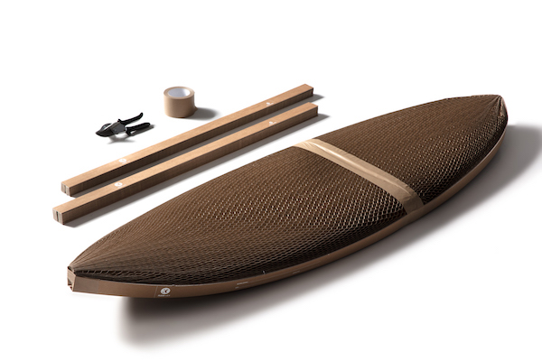 Tools, materials and a surfboard wrapped in Flexi-Hex