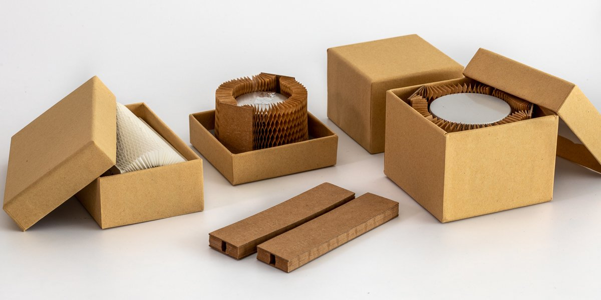 Industrial component packaged in plastic free packaging system