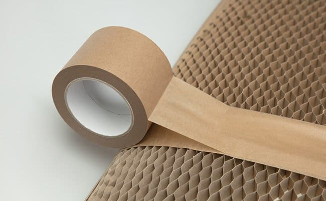 55mm packing tape holds the two cardboard sleeves together