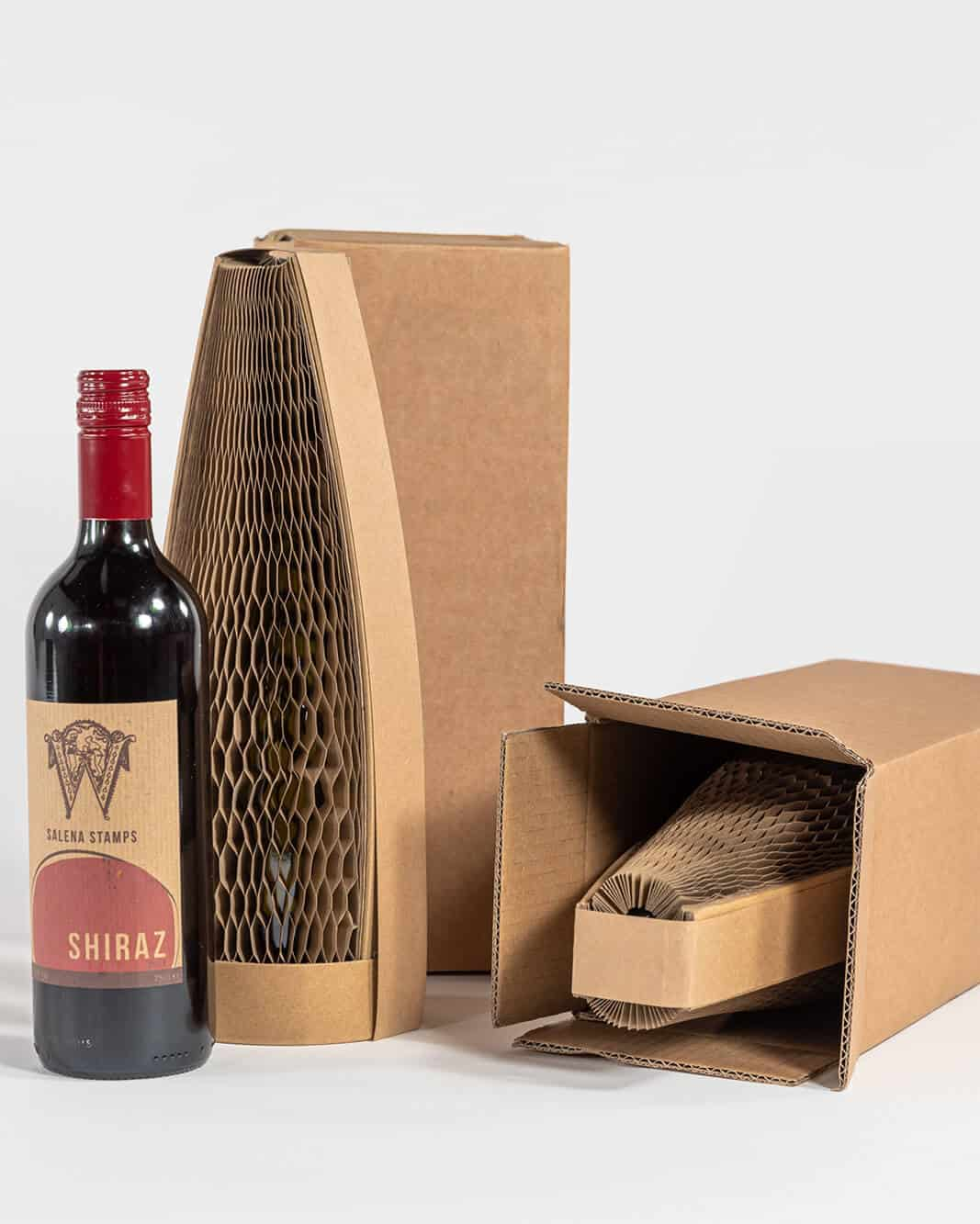 Slender bottle packaging with box