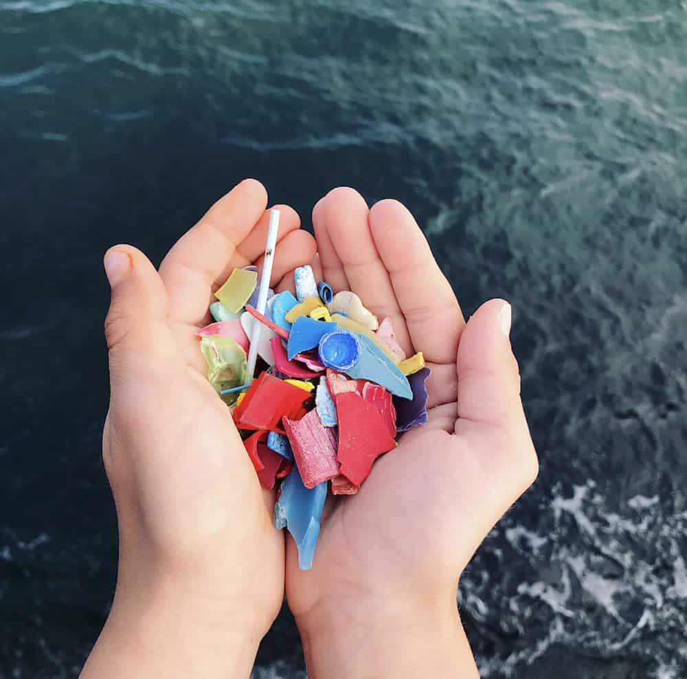 A handful of plastic fragments from the sea