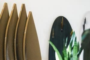 A line of surfboards wrapped in Flexi-Hex's 100% recyclable packaging