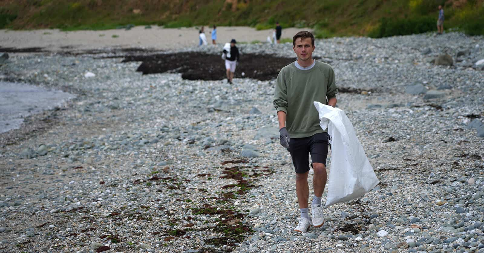 Flexi-Hex Cleaning Local Beach in Cornwall